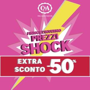 PREZZI ANCORA PIU' SHOCK da C&A, con lo sconto extra del 50% sugli articoli già scontati! È solo dal 14 al 18 marzo. Approfittane subito!